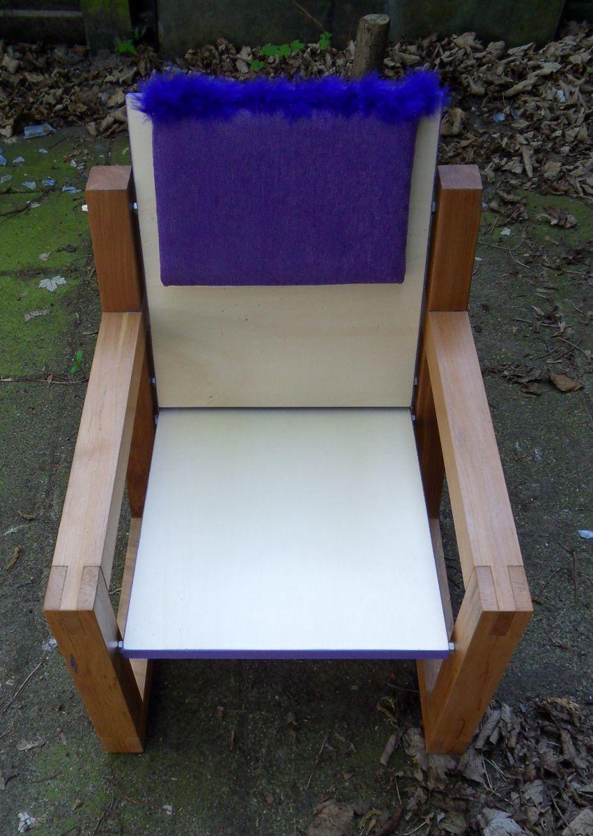 Hout en klaar - Smeedijzeren stoel en houten ...